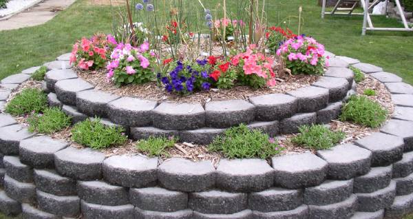 Two-Tiered Retaining Wall Brick Raised Island Bed